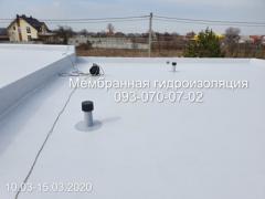 Roof waterproofing with PVC membrane in Kamenskoye